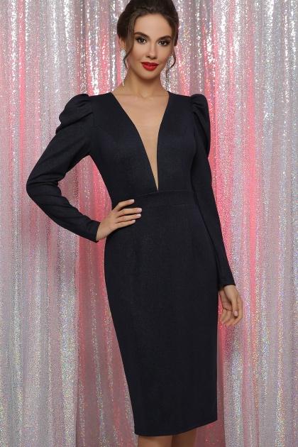 черное платье с глубоким вырезом. платье Солли д/р. Цвет: синий