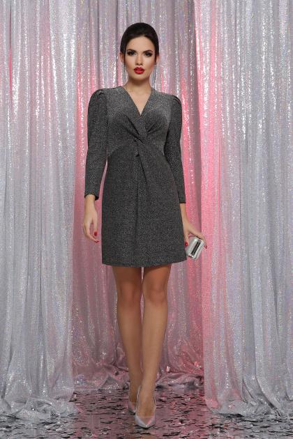 короткое платье с люрексом. платье Нила 3/4. Цвет: черный-серебро
