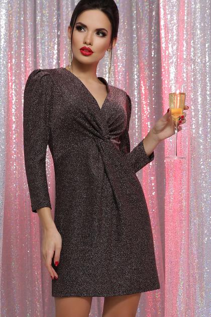короткое платье с люрексом. платье Нила 3/4. Цвет: черный-бронза