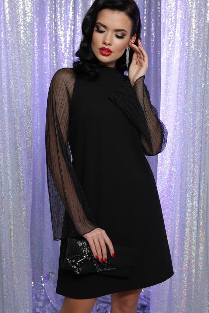 розовое платье с широкими рукавами. Платье Вилма д/р. Цвет: черный