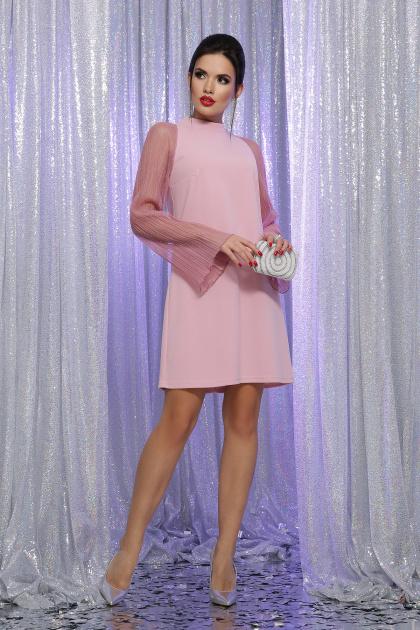 розовое платье с широкими рукавами. Платье Вилма д/р. Цвет: св.лиловый