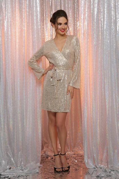 золотистое платье с запахом. Платье Земфира д/р. Цвет: золото-серебро