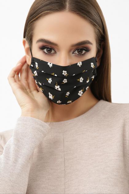 тканевая маска в горошек. Маска №1. Цвет: черный-белый м.цветок