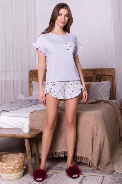 короткая пижама с шортами. Пижама Лиэль. Цвет: серый-разн. сердца