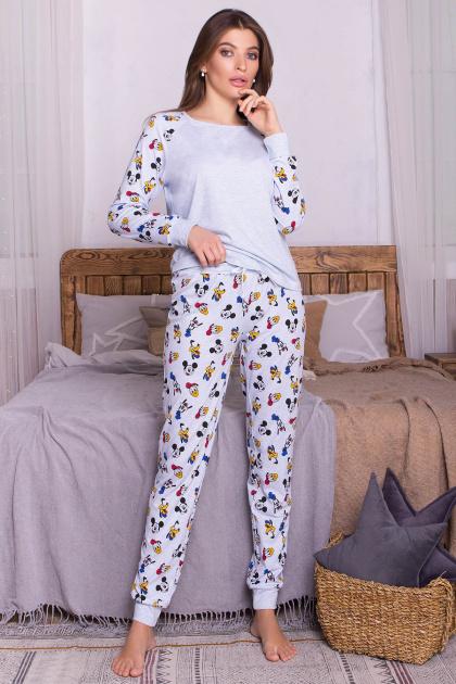 пижама с брюками для сна. Пижама Амаль. Цвет: голубой-Микки Маус