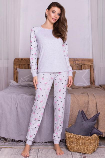 пижама с брюками для сна. Пижама Амаль. Цвет: серый-фламинго