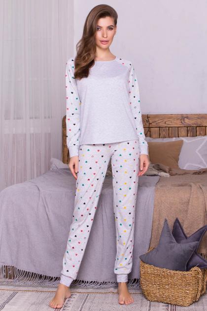 пижама с брюками для сна. Пижама Амаль. Цвет: серый-разн. сердца