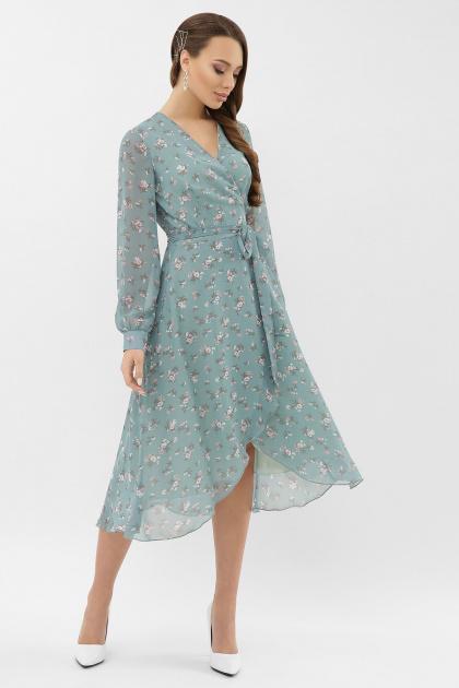 нежное платье на запах. Платье Алеста д/р. Цвет: бирюза-белый цветок