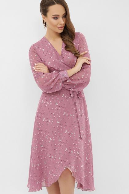 нежное платье на запах. Платье Алеста д/р. Цвет: лиловый-белый цветок