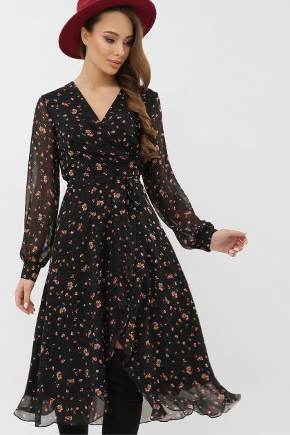 нежное платье на запах. Платье Алеста д/р. Цвет: черный-розовый цветок