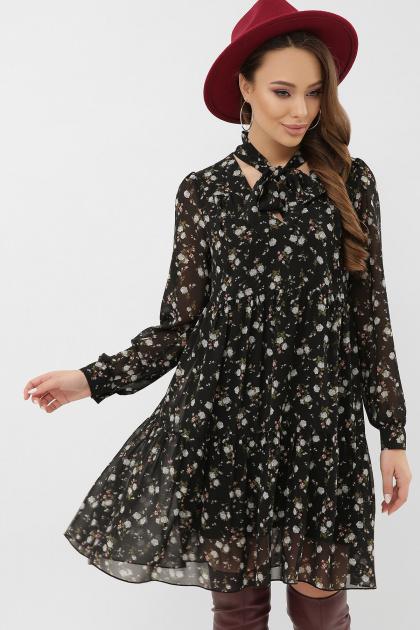черное платье из шифона. платье Мара д/р. Цвет: черный-голубой цветок