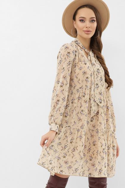черное платье из шифона. платье Мара д/р. Цвет: бежевый-голубой цветок