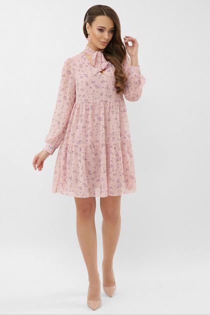 черное платье из шифона. платье Мара д/р. Цвет: пудра-сиреневый цветок