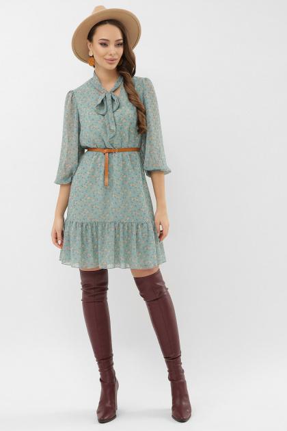 платье из шифона с рукавом три четверти. платье Малика д/р. Цвет: бирюза-персик м.цветок