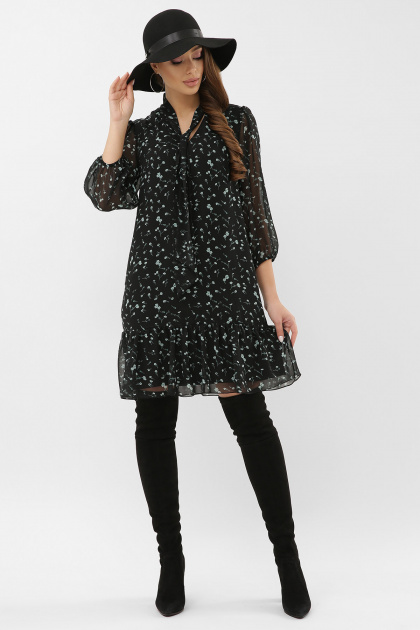 платье из шифона с рукавом три четверти. платье Малика д/р. Цвет: черный-зеленый цветок