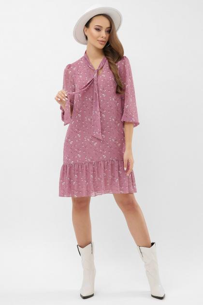 платье из шифона с рукавом три четверти. платье Малика д/р. Цвет: лиловый-белый цветок