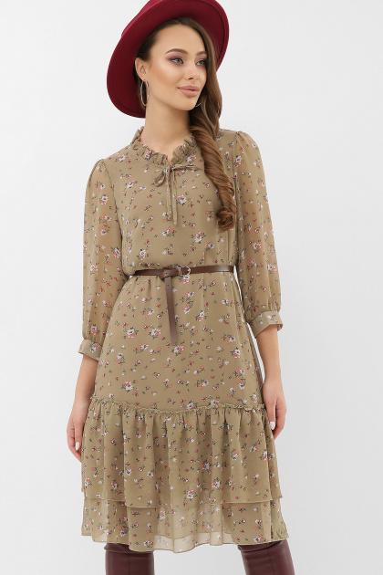 платье хаки из шифона. Платье Элисон 3/4. Цвет: хаки-м.цветы