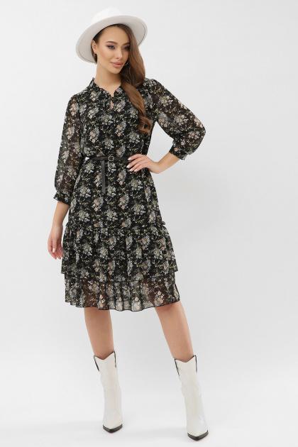 платье хаки из шифона. Платье Элисон 3/4. Цвет: черный-букет