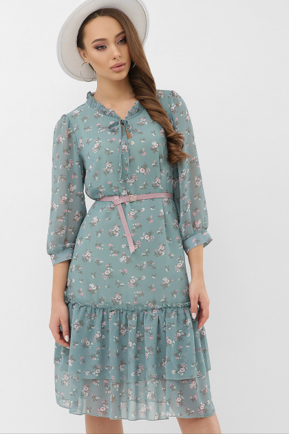 платье хаки из шифона. Платье Элисон 3/4. Цвет: бирюза-белый цветок