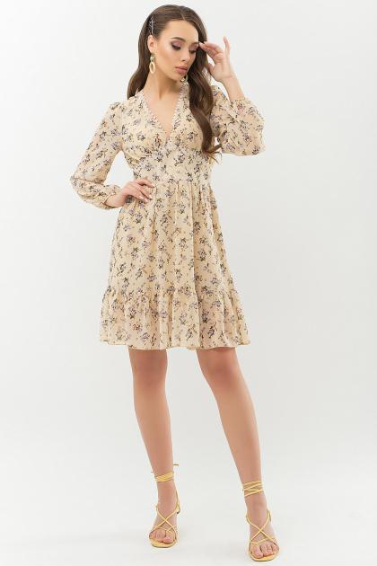 бежевое платье с цветами. Платье Бернарда д/р. Цвет: бежевый-голубой цветок