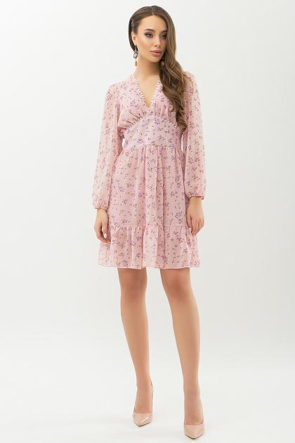 бежевое платье с цветами. Платье Бернарда д/р. Цвет: пудра-сиреневый цветок