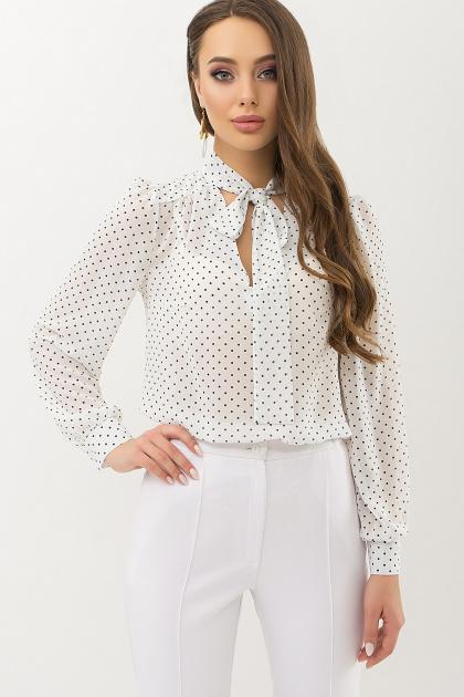серая блузка в горошек. Блуза Аза д/р. Цвет: белый-черный м. горох