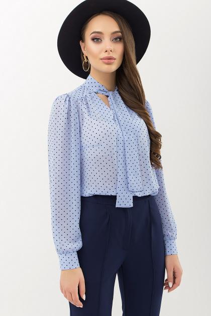 серая блузка в горошек. Блуза Аза д/р. Цвет: голубой-черный м.горох