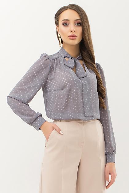 серая блузка в горошек. Блуза Аза д/р. Цвет: серый-пудра м.горох