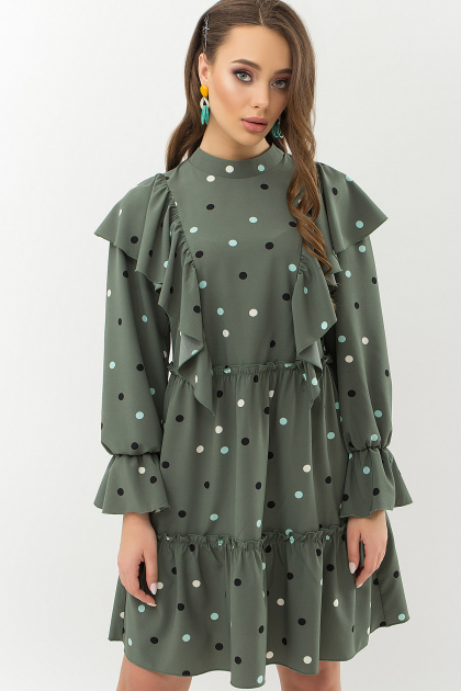 синее платье в горошек. Платье Лесса д/р. Цвет: хаки-горох цветной
