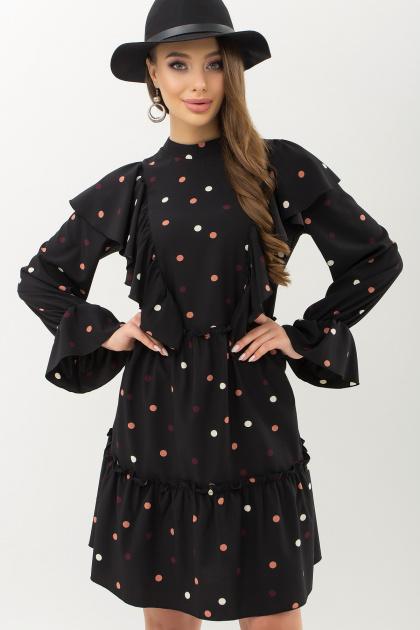 черное платье в горошек. платье Лесса д/р. Цвет: черный-горох цветной