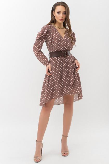 шифоновое платье в горошек. платье Лайса д/р. Цвет: капучино-белый горох