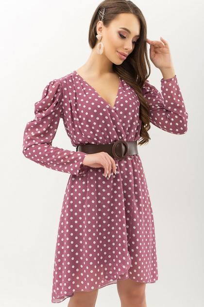 шифоновое платье в горошек. платье Лайса д/р. Цвет: фрез-белый горох