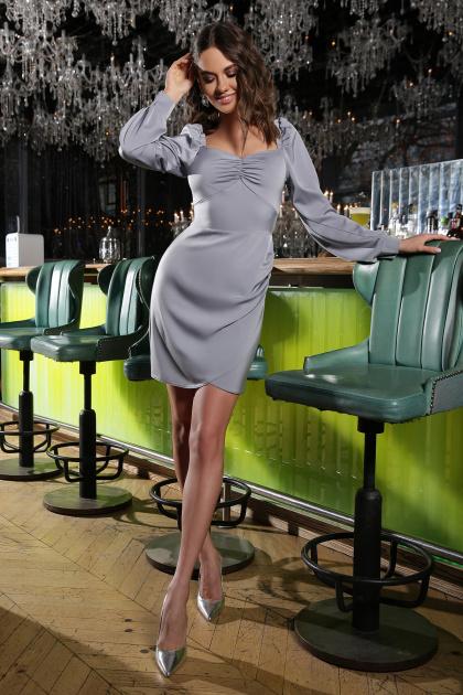 коктейльное серое платье. Платье Анелия д/р. Цвет: серый