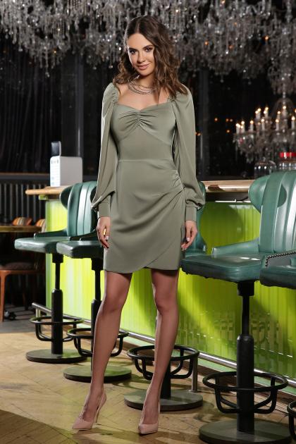 коктейльное серое платье. Платье Анелия д/р. Цвет: хаки