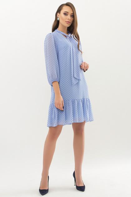 платье из шифона с рукавом три четверти. платье Малика д/р. Цвет: голубой-черный м.горох