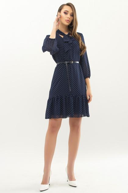 платье из шифона с рукавом три четверти. платье Малика д/р. Цвет: т.синий-белый м. горох