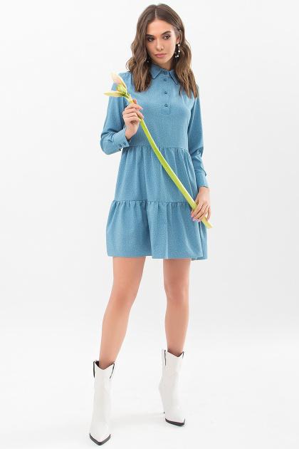 . Платье Наваль д/р. Цвет: бирюза-точка белая