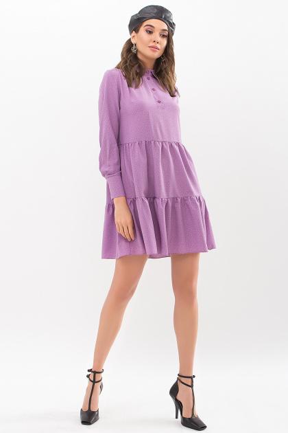 . Платье Наваль д/р. Цвет: сирень-точка черная