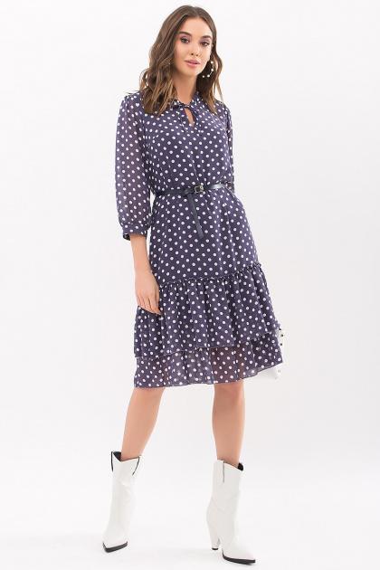 платье хаки из шифона. Платье Элисон 3/4. Цвет: синий - белый горох