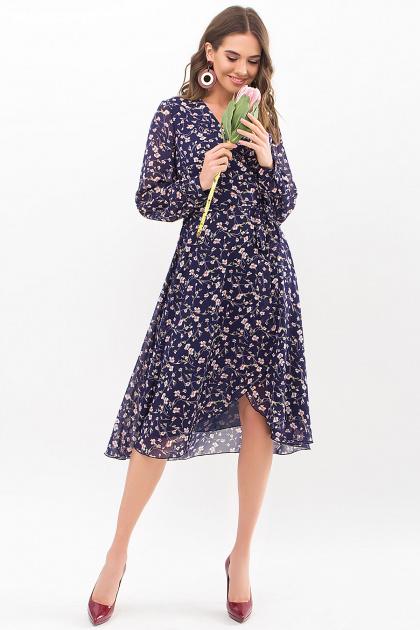 нежное платье на запах. Платье Алеста д/р. Цвет: синий-цветы
