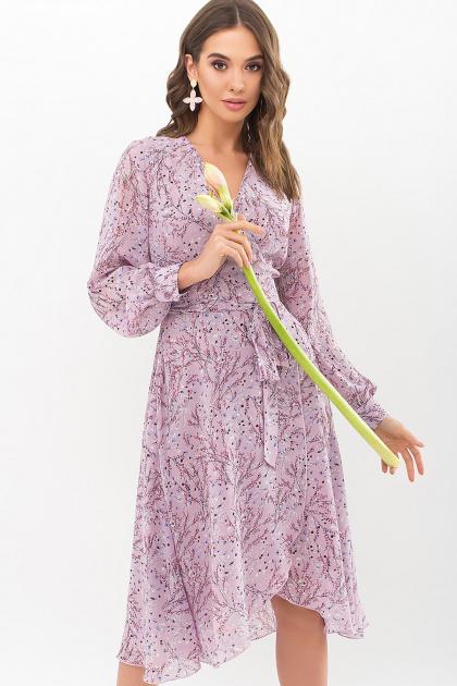 нежное платье на запах. Платье Алеста д/р. Цвет: сиреневый-голуб.м.цветок