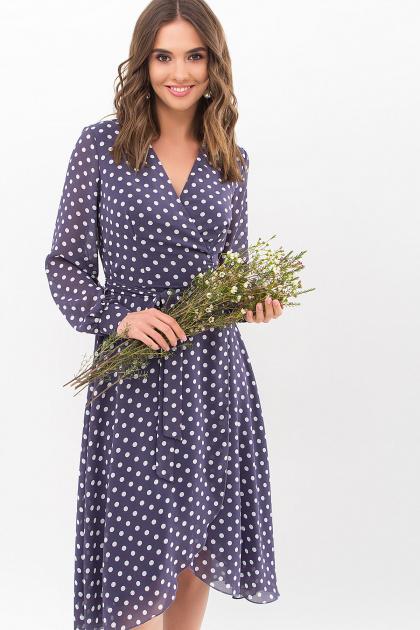 . Платье Алеста д/р. Цвет: синий - белый горох