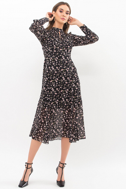 . Платье Мануэла д/р. Цвет: черный-цветы