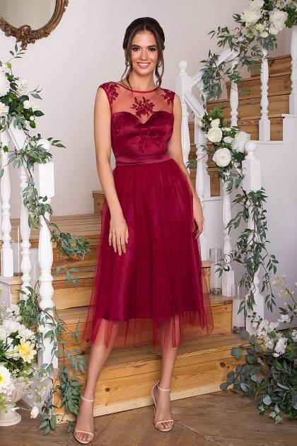 выпускное платье с фатиновой юбкой. Платье Паиса б/р. Цвет: бордо