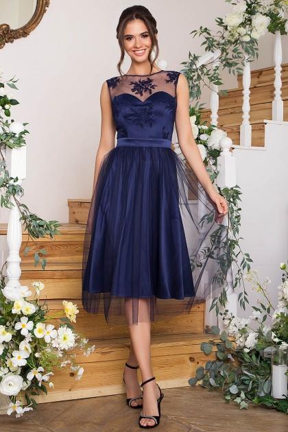 выпускное платье с фатиновой юбкой. Платье Паиса б/р. Цвет: синий
