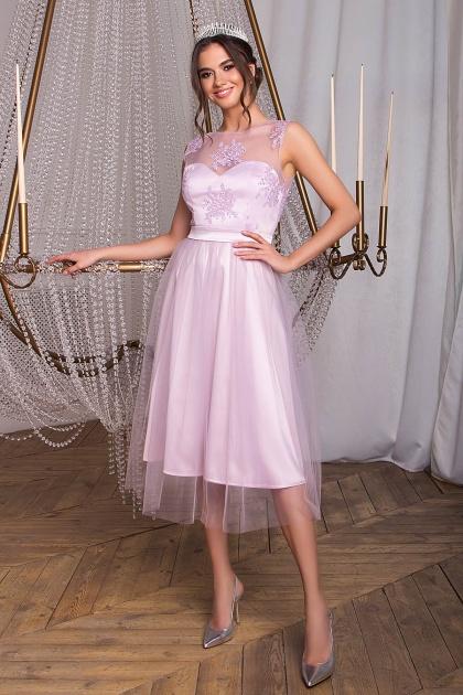 выпускное платье с фатиновой юбкой. Платье Паиса б/р. Цвет: св. сиреневый