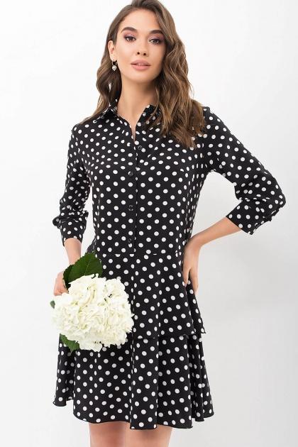 . Платье Салима 3/4. Цвет: черный-белый горох