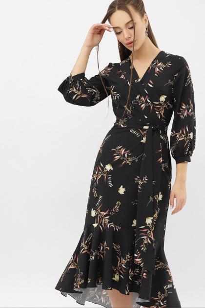 платье на запах из софта. Платье Сафура 3/4. Цвет: черный-ветка
