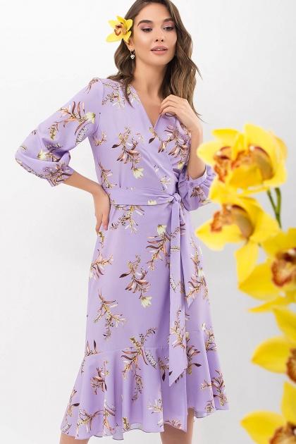 платье на запах из софта. Платье Сафура 3/4. Цвет: лавандовый-ветка