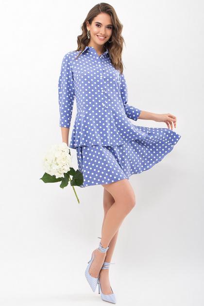 . Платье Салима 3/4. Цвет: джинс-белый горох
